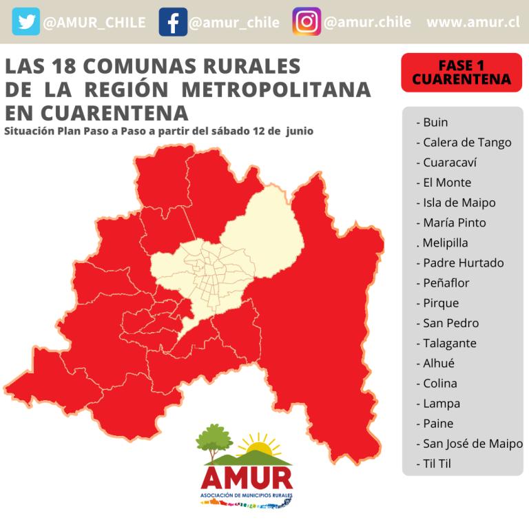 LAS 18 COMUNAS RURALES DE LA REGIÓN METROPOLITANA EN CUARENTENA